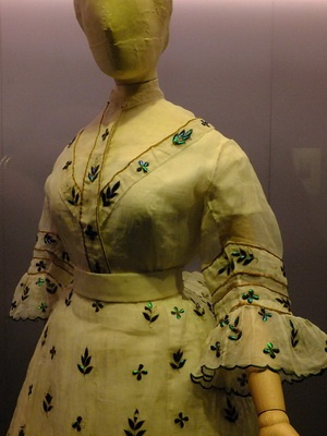 dress embellished with wing cases of jewel beetles